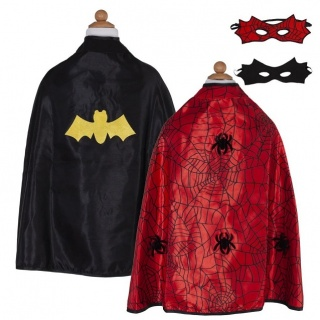 Omkeerbare Spider-man/Batman cape met masker (Great Pretenders)
